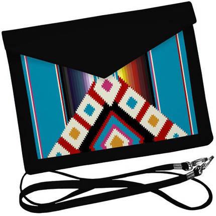 Черный женский клатч конверт с орнаментом, фото 2