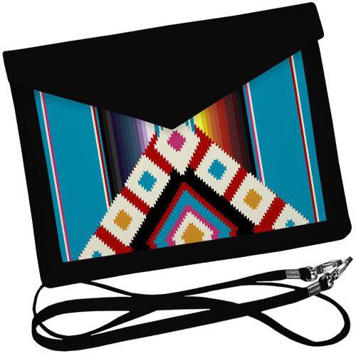Черный женский клатч конверт с орнаментом