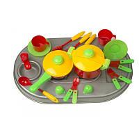 КУХНЯ ПЛИТА С МОЙКОЙ И ПОСУДОЙ, В КОР 04-409  детская игровая кухня, игровой набор для девочек, плита
