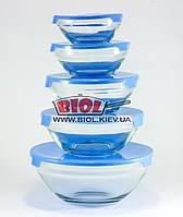 Набор судков (5шт.) из стекла с пластиковыми крышками (цвет крышек - синий) Stenson MS-0091-1