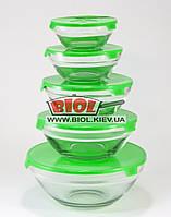 Набор судков (5шт.) из стекла с пластиковыми крышками (цвет крышек - зеленый) Stenson MS-0091-2