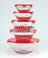 Набор судков (5шт.) из стекла с пластиковыми крышками (цвет крышек - красный) Stenson MS-0091-4