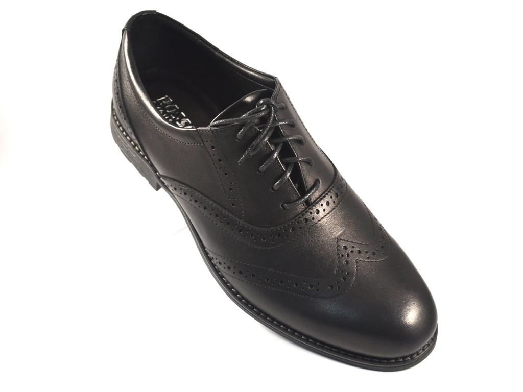 Мужская обувь больших размеров туфли броги черные кожаные демисезонные Rosso Avangard BS Felicete Uomo