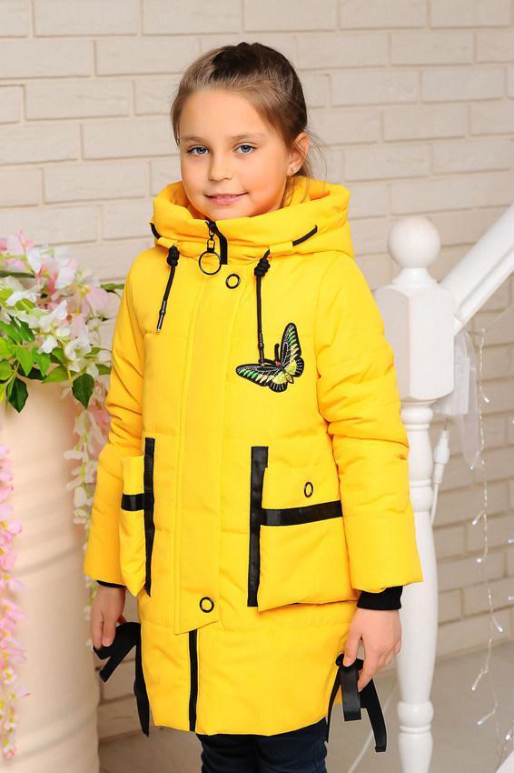 Детская демисезонная удлиненная куртка, желтая, р.98-122