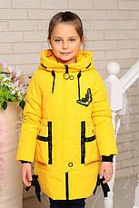 Детская демисезонная удлиненная куртка, желтая, р.98-122, фото 3