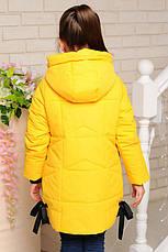 Детская демисезонная удлиненная куртка, желтая, р.98-122, фото 2