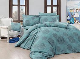 Жаккардовое постельное белье Nazenin сатин (евро-размер) № LavidaTurkuazNJ-106