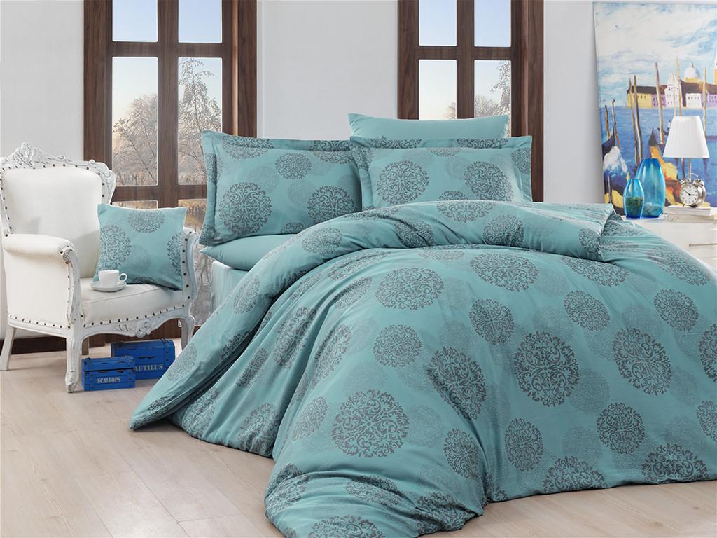 Жаккардовое постельное белье Nazenin сатин (евро-размер) № Lavida Turkuaz NJ-106