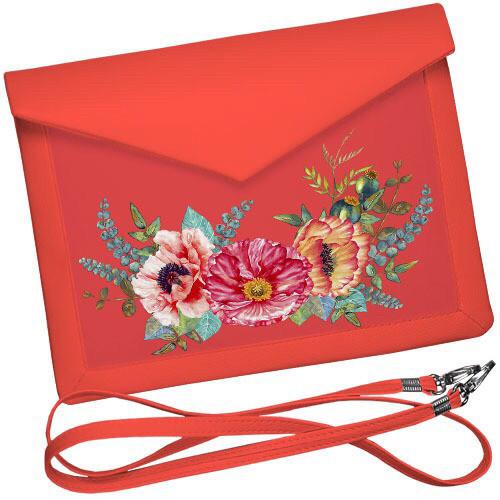 Женский клатч конверт вышиванка с маками