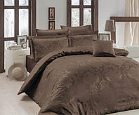 Жаккардовое постельное белье Nazenin сатин (евро-размер) № Lisa KahveNJ-114