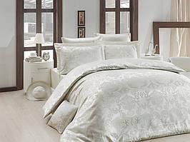 Жаккардовое постельное белье Nazenin сатин (евро-размер) № Lisa KremNJ-111