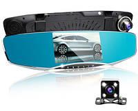 Зеркало видео регистратор Автомобильное на 2 камеры. Видео парковка. Экран 5 дюймов. + Карта памяти Micro SD Class 10  32Гб