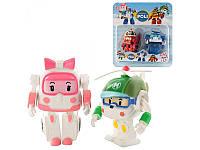 Набор фигурок Robocar/Робокар 7 см: 2 героя в комплекте (Поли+Рой/Эмбер+Хели), фото 1