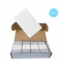 Набор 100 шт. Бесконтактная карта Tecsar Trek Mifare Classic 1K 08 мм белая, фото 1