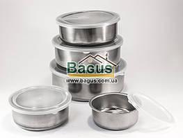 Набор судочков из нержавеющей стали (5 шт./наб.) с пластиковыми крышками Frico (FRU-438)