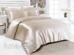 Атласный жемчужный (молочный) комплект: полуторный, двуспальный, евро, семейный