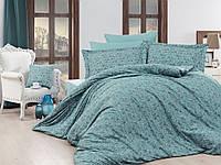 Жаккардовое постельное белье Nazenin сатин (евро-размер) № Serena TurkuazNJ-101