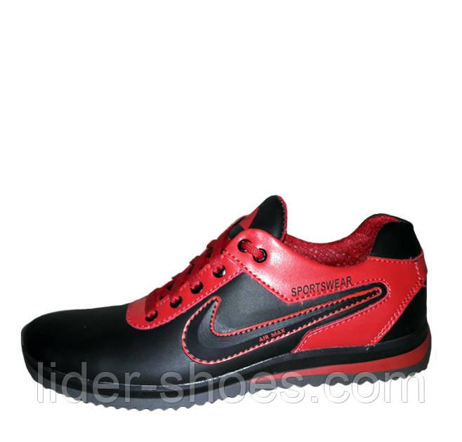 Кожаные подростковые кроссовки на шнурках реплика