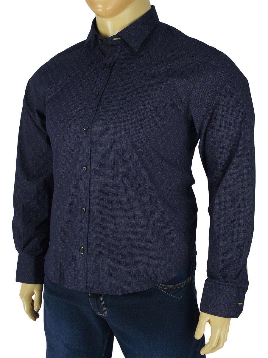 Молодежная мужская рубашка Negredo Art.7000-B slim в большом размере