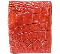 Эксклюзивное мужское портмоне из настоящей кожи крокодила в красном цвете (1003a. ALM 06 B Golden Tan)