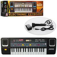 Синтезатор игрушка в кор микрофон от сети 37клавиш FM 48*15*6см  MQ 032FM (12)