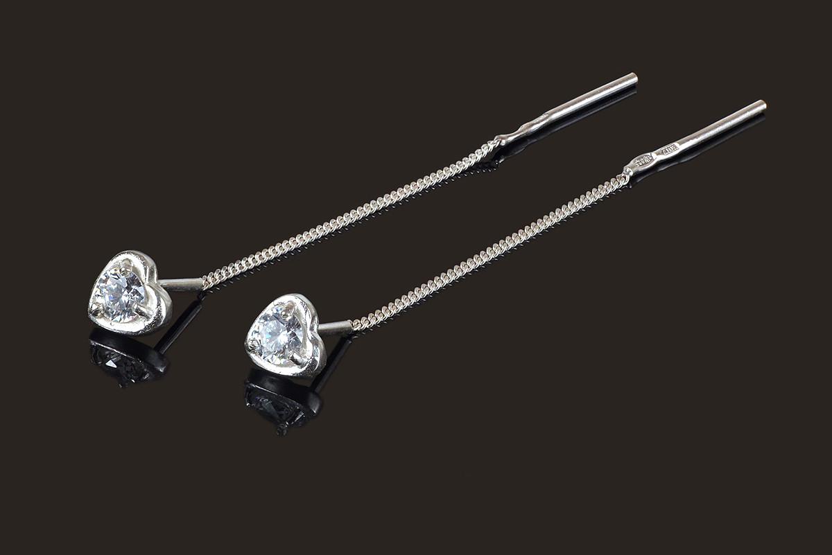Серебряные серьги протяжки Сердечки