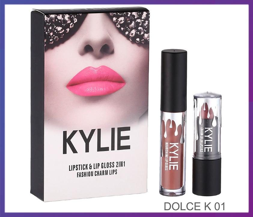 Набор помада + блеск Kylie Jenner Lipstick Lip Gloss 2 in 1 DOLCE K
