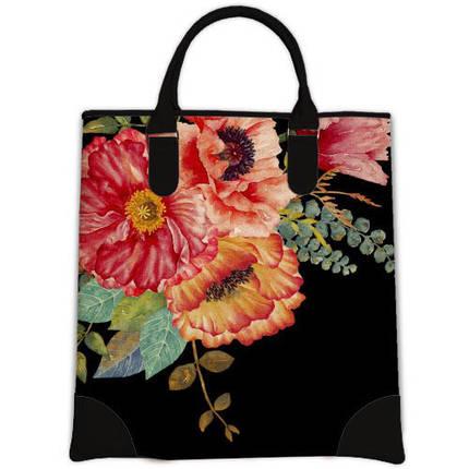 Женская сумка мешок Мини с принтом Маки, фото 2