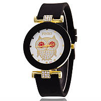 Женские часы Сова с силиконовым ремешком черные