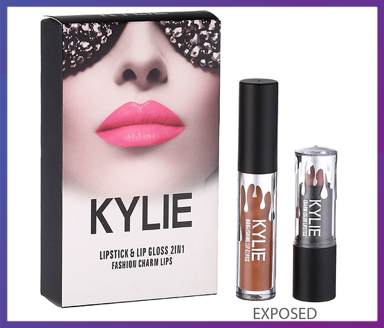 Набор помада + блеск Kylie Jenner Lipstick Lip Gloss 2 in 1 EXPOSED, фото 2