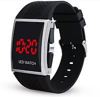 Мужские LED часы на силиконовом ремешке Черные