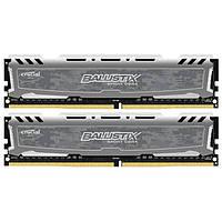 Оперативная память для компьютера 8Gb x 2 (16Gb Kit) DDR4, 2666 MHz, Crucial Ballistix Sport LT Grey, 16-18-18, 1.2V, с радиатором (BLS2C8G4D26BFSB)