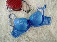 Бюстгальтер светло синий в цветочек кружево чашка  80 С, размер 3 - модные лифчики на 2 крючка