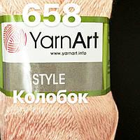 Турецкая летняя  пряжа для  вязания YarnArt   STYLE  ( стайл) хлопок с вискозой- 658 нежный персик