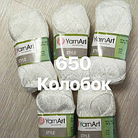 Турецкая летняя  пряжа для  вязания YarnArt   STYLE  ( стайл) хлопок с вискозой-650 белый