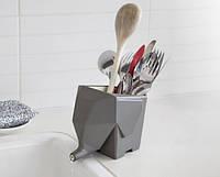 Сушилка для столовых приборов Слоник Джамбо, светло-серая