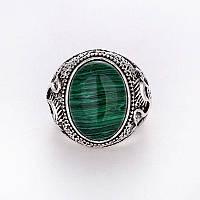 Кольцо из тибетского серебра с малахитом.