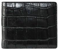 Стильное мужское портмоне из настоящей кожи крокодила в черном цвете (1006. ALM 03 EX Black)
