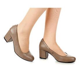 Туфли женские кожаные кофейные на среднем каблуке размер 37