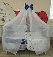 Полный набор для сна с кроваткой колеса+качалка! 17 предметов! Постельное Bonna Present, матрасик, сменка