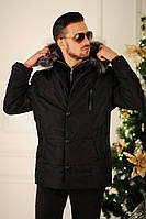 """Стеганая мужская куртка-пальто """"NIOKS"""" с капюшоном и карманами"""