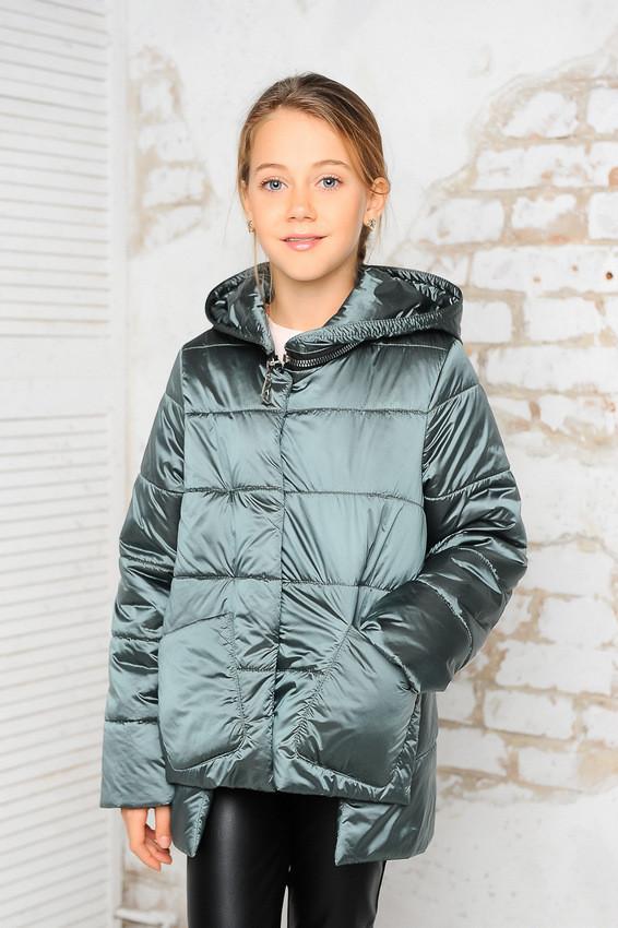 Детская демисезонная куртка Мэри, сталь, р.122-140