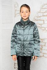 Детская демисезонная куртка Мэри, сталь, р.122-140, фото 2