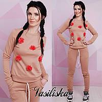 Костюм женский модный свитшот и брюки декорирован цветами трикотаж джерси разные цвета DV772, фото 1
