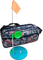Набор оснащенных сумских зимних жерлиц с алюминиевой мачтой, 10 шт. в сумке