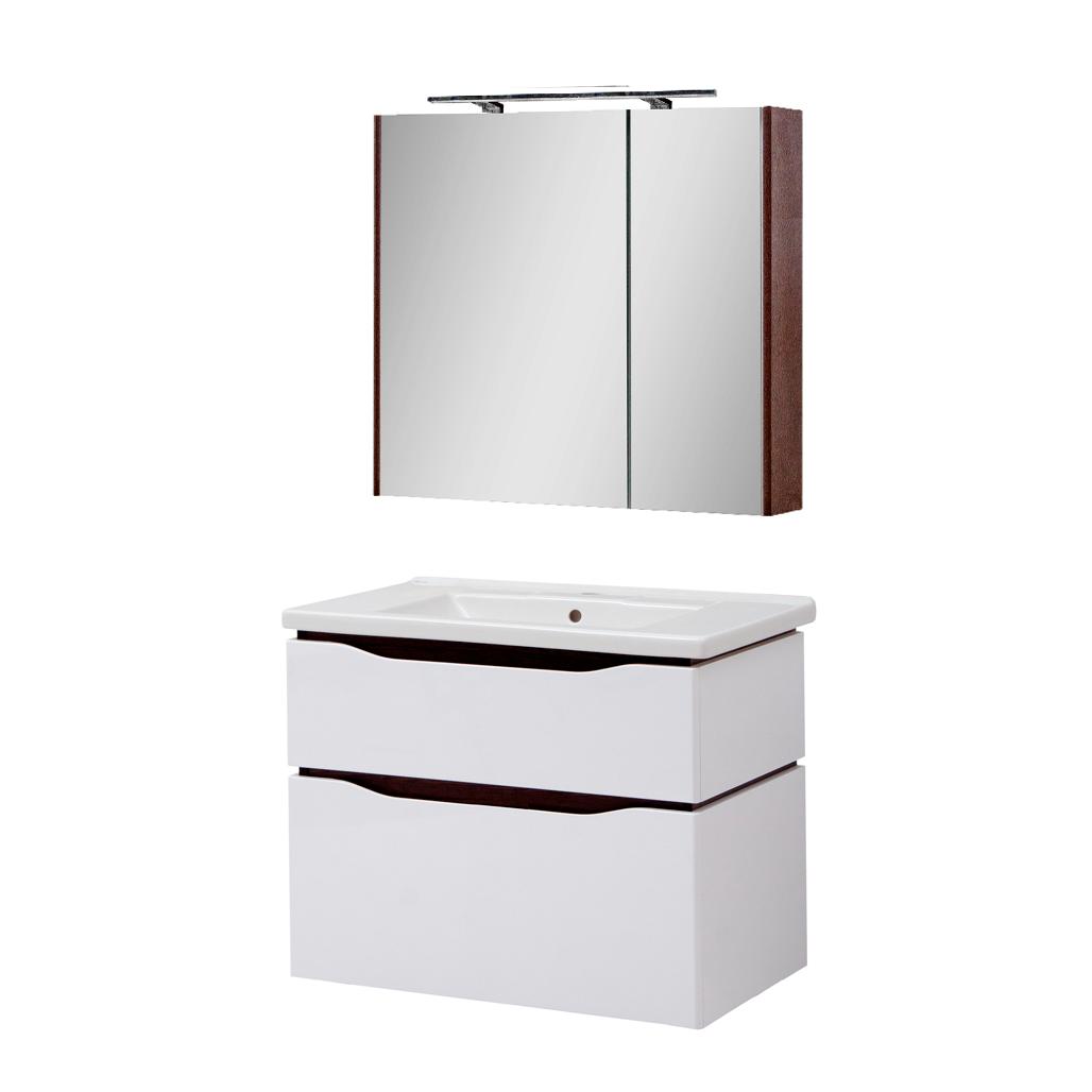 Мини-комплект мебели для ванной комнаты Сенатор 80 подвесной с зеркальным шкафом Юввис
