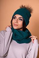 Женский комплект: шапочка с бубоном енота и снуд, в расцветках