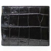 Стильное мужское портмоне из настоящей кожи крокодила в черном цвете (1004. ALM 03 B Black)