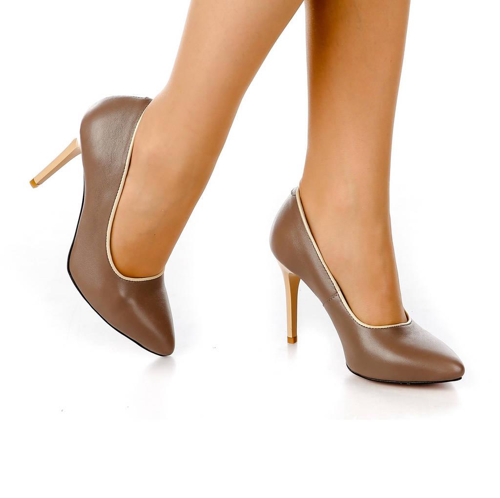 Туфли лодочки женские кожаные с острым носком на высокой шпильке кофейные