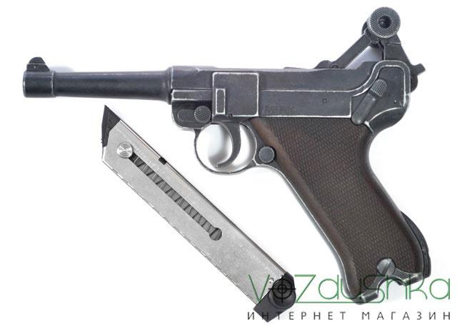 Стартовый парабеллум ME Luger P-08 с извлеченным магазином
